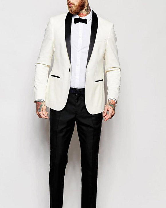 Ivory /Black Slim Fit Suit Groom Suit For Wedding 2 Pieces (Jacket + Pants)