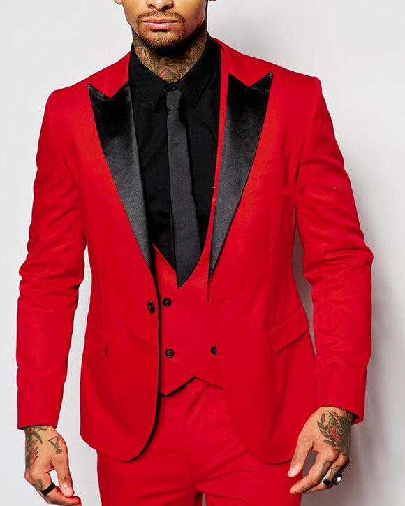 Red and Black Prom Suit Peak Lapel Three Pieces Men Suit (Jacket +pants+vest) PL745