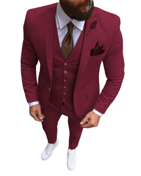 Slim Fit 3 Pieces Burgundy /Gray /Camel Groomsmen Suits for Wedding Men Blazer Formal Dress Prom Suit 2021 CB01117