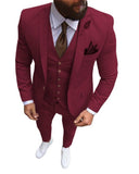 North Lapel Slim Fit 3 Pieces Burgundy Prom Suits 2021 Party Suit for men CB1027(jacket +waistcoat +pants)