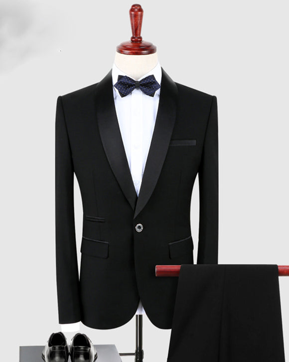 Black Groom Wedding Suits  Shawl Lapel Three Pieces Prom Tuxedo(Jacket +Pants +Vest)