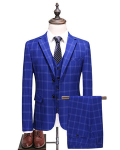 ClassyBy Royal Blue Plaid Wedding Suit Three Pieces (Jacket+pants+vest) PL554