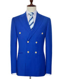 Double Breasted Royal Blue Suit for Men two Pieces (Jacket+black pants)