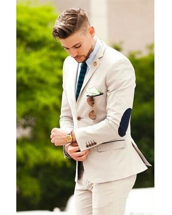 Beige Two Pieces Wedding Suit Groom/Best Men Tuxedo  (Jacket+Pants)