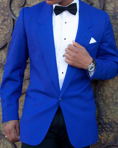 Royal Blue Prom Party Suit One Button  Veste De Loisir Notched Lapel Blazers Suits 2 Pieces