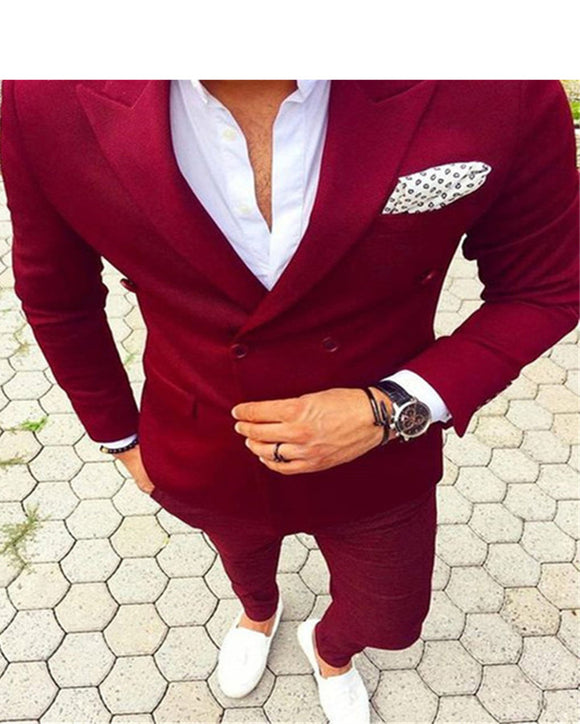 Red  Slim Fit Suits men's Wedding Suits With Pants Business  2 Pieces (Jacket+pants)CB945
