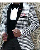 Mens Checkered Suit Houndstooth  Men Dress Sports Suits,Tailored Casual Men Suits  Weave Hounds 2 Pieces (Jacket+pants)