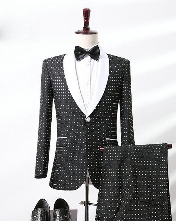 Black and White Dot Men Blazer  Suit for Wedding  Two Pieces