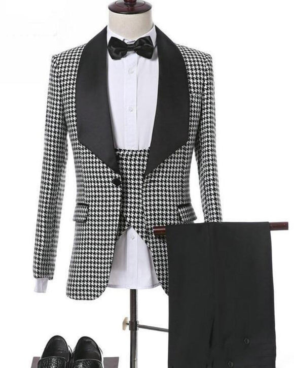 Houndstooth Groom Tuxedos Groomsmen Blazer Excellent Men  Formal Prom Party Suit Customize 4 Pieces(Jacket+Pants+Tie+Vest)