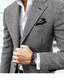 Houndstooth Custom Made Mens Checkered Suit Dress 2019 Tailored black Weave Hounds Tooth Check wedding men suits 2 Pieces ( jacket+pants)