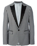 Peak Neck Houndstooth Men Winter Wear Blazer Dinner Party Prom Suits Groom Tuxedos Suits