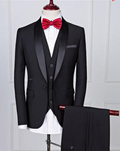 Shawl Lapel Black Groom Men One Button  Wedding Suit 3 Pieces (Jacket+vest +pants)