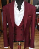 Multi Colors Peak Neck Three Pieces Wedding Suit Men Formal Prom Suits Tuxedo  (Jacket+Vest+Pants)