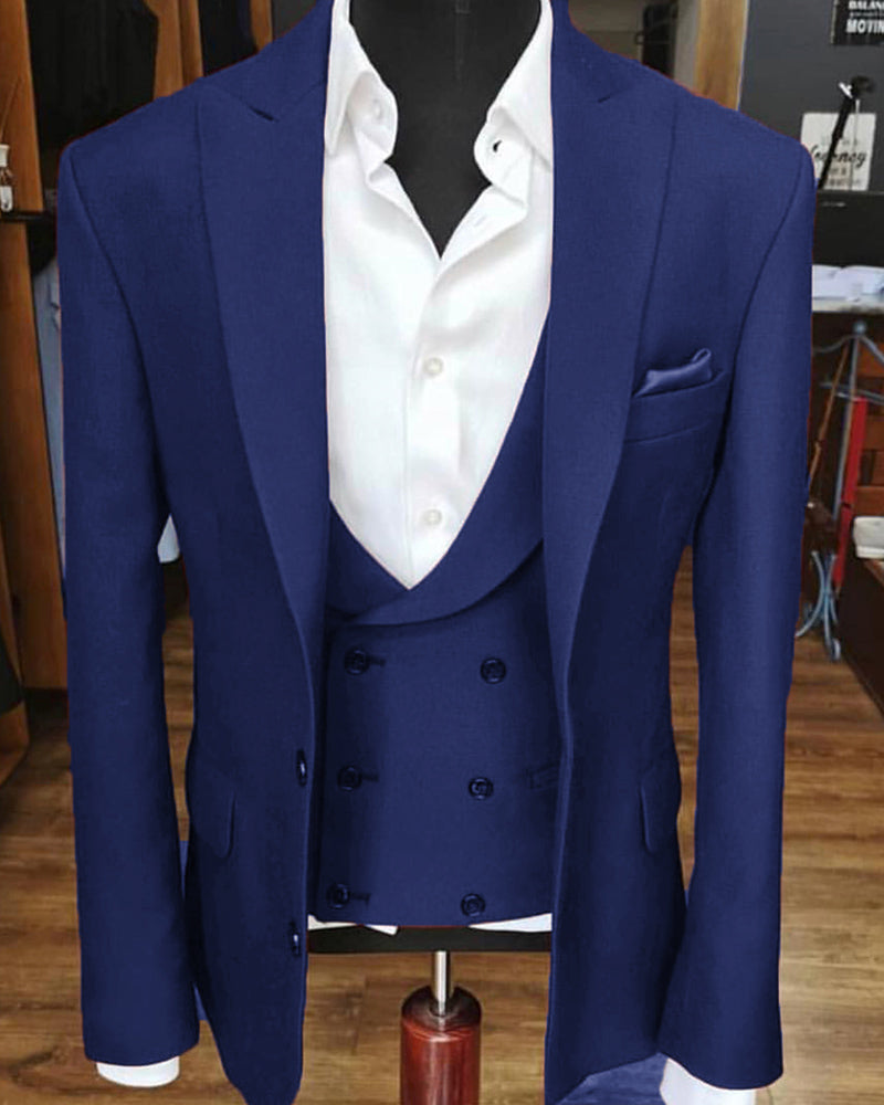 Multi Colors Peak Neck Three Pieces Wedding Suit Men Formal Prom Suits Classbydress