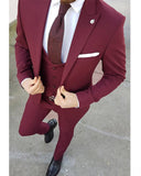 Purple Men 3 Pieces Tuxedo for Men/Groom/Wedding Dress Suit (Jacket+waistcoat+pants)