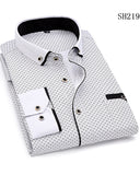 Men's Casual Brand Men Dress Shirt New Men's Slim Wild Business Shirt Male Print Long Sleeve Shirts Tops ST0807