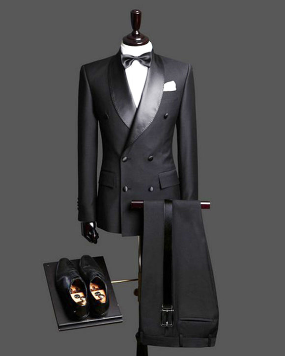 Classyby New 2020 Double Breast Black Man Wedding Suits Tuxedos Satin Lapel  2 Pieces(Jacket+pants) for wedding/prom
