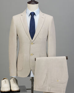 Classyby Beige Slim Fit Summer  linen Wedding Suits for Groom 2020  two Pieces (Coat + Pants))CB20196