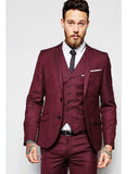 2020 Boy Friend Burgundy Mens Dress Prom Suits Slim Fit Wine Red Suits Tuxedos 3 Pieces