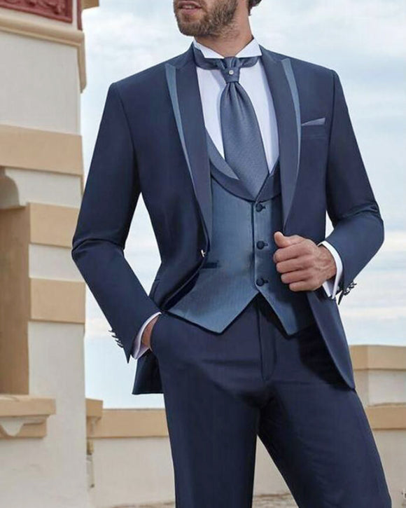 Navy Slim Fit 3 Pieces Groom Wedding Tuxedos 2020 Casamento Dos Homens Ternos Do Noivo Italiano Tuxedo Do Casamento  Smoking Suits for Men CB1601