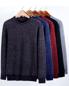 Men's Clothing Sweaters Pullovers  Loose Casual Embroidery O-Neck Thick Velvet Winter Chenille Sweaters