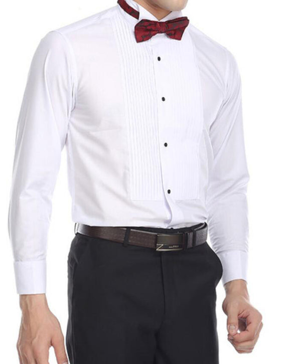 Anti-wrinkl Tuxedo Shirt - 95% Cotton Wing Collar Shirt with French Cuffs