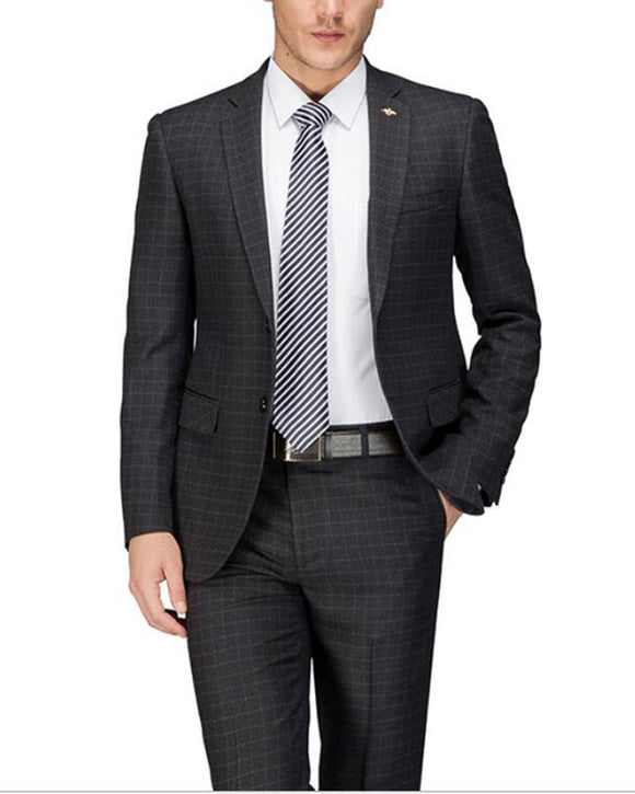 High Quality Black Plaid  Wool Men Business Suits 2 Pieces (jacket+pants)