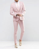 Light Pink Slim Fit Men's  Blazer Suits 2 Pieces Evening Prom Dress Suits For Man 2020(jacket+pants)CB1118)