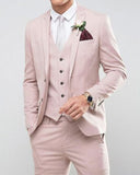 CB1115 Handome Slim Fit Pale Subtle Pink Wedding Prom Suits 3 Pieces Groomsmen Tuxedos