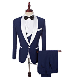 Navy Blue/White shawl lapel Formal Men Suits Tuxedo for Prom Groom Suits
