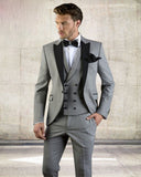 Grey Men Suit Slim Fit Jacket With Black Tuxedo Custom Made Blazer Wedding Groom Suits  (Blazer+Pants+Vest)