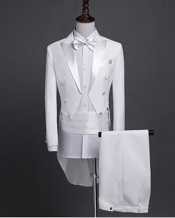 mens white tailcoat Wedding Suits Slim  Long Jacket Pants Vest Groom  Costume PL741