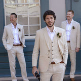 Classyby 2020 Groomsmen Summer Marriage Groom Tuxedo 3 Piece Wedding Suit (Jacket+Pant+Vest)