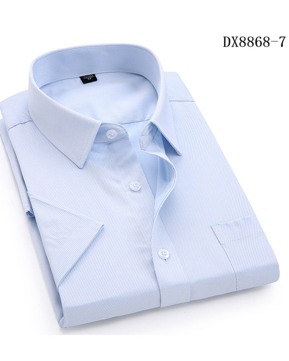 100% Cotton Men's Casual Dress Short Sleeved Shirt Twill White Blue Pink Black Male Slim Fit Shirt For Men Social Shirts