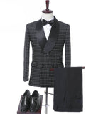 Black Double Breasted Wedding Groom Suit With Pants Tuxedos For Men Prom  Suit (Jacket+Pants+Bow)