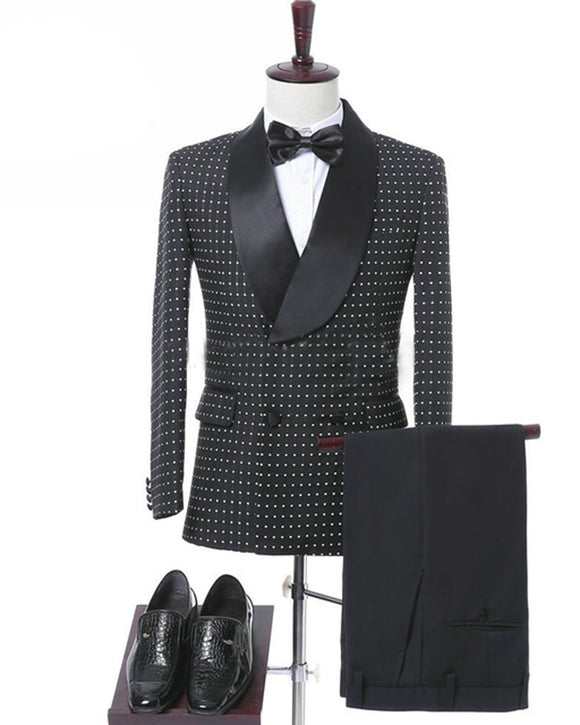 Africa Men Wedding Suit/Blazer Black  Dot Suit for Men Outfit two Pieces(Jacket+pants)
