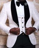 Ivory/Black/White  Men Blazer three Pieces Prom Suit (Jacket+pants +vest)