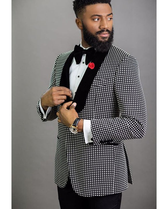 Black and White Dot Men's Blazer Suits 2 Pieces(Blazer+pants) ,Formal Dress Men Outfits CB0727