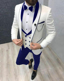 Velvet Lapel Ivory Groom Wedding Tuxedo Suits with Royal Blue Trim CB0914