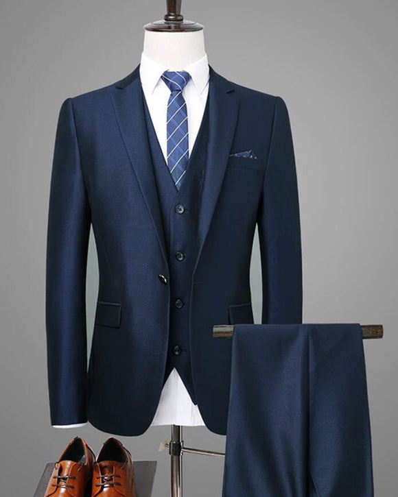 Dark Navy Blue Wedding Suits Slim Fit 3 Pieces Formal Dress Suits for Men CB08253