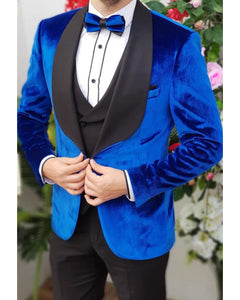 Classic Royal Blue Velvet Smoking Jackets for Men ,3 Pieces Tuxedo Suits traje de novio CB1019