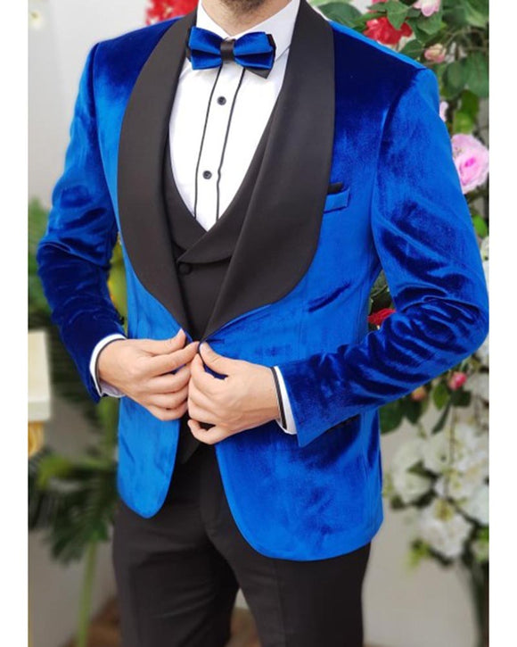Satin Shawl Royal Blue Velvet  Smoking Jackets For Men,3 pieces tuxedo suits  anzug herren CB10192