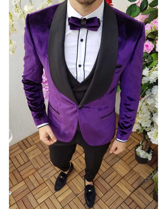 Purple Black Shawl Lapel Velvet Smoking Suits Tuxedos for Men Formal Wedding Dress Outfit men's Wear CB10153