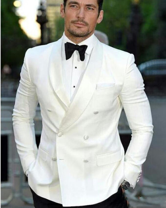 CB554 Double Breasted Ivory Tuxedos Groomsmen Wedding Party Dinner Best Man Suits (Jacket+Pants+Tie)