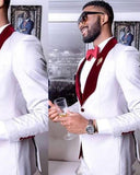 Slim Fit White Formal Party Mens Suits for Wedding with Burgundy Shawl 2 Piece  CB3874
