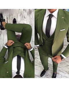 Green Men Suit Slim Fit 3 Piece Tuxedo Groom Style Suits Custom Prom Party Blazer MN125