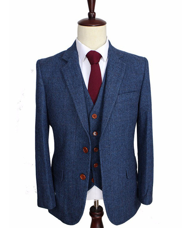 High Quality notch lapel Wool Blue gentleman style custom made Men suits Blazer suits for men 3 piece (Jacket+Pants+Vest)