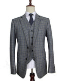 Men suits wool strip Grey Traditional Tweed Retro British style tailor wedding slim fit Blazer suits for men 3 piece