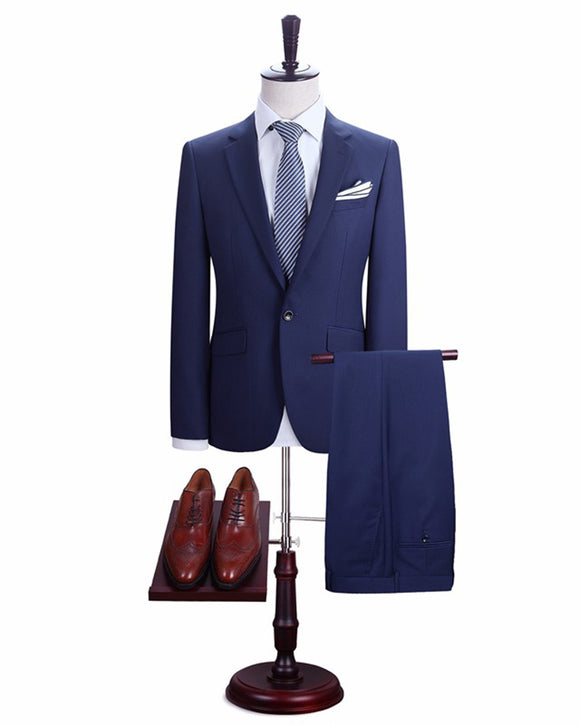 Blue /Dark Gray notch lapel Men Suits Blazer With Pants Slim Fit Casual One Button Jacket for Wedding