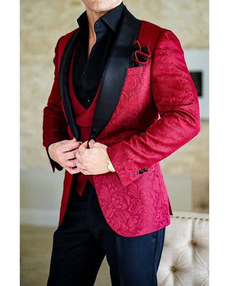 Red Shawl Lapel Jacquard Tuxedos Mens Suits Dinner Jacket 3 Pieces Classbydress